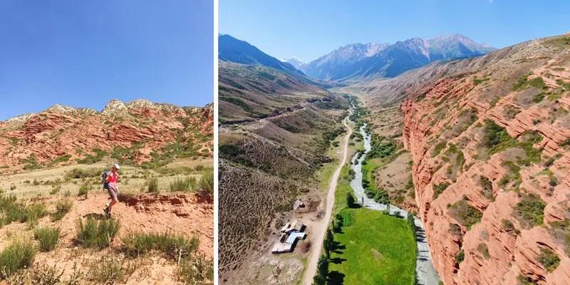 Wuestenlandschaft beim Trekking in Kirgistan