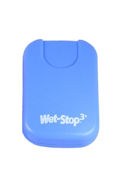 Wet-Stop 3+ wearable bedwetting alarm unit shown in blue