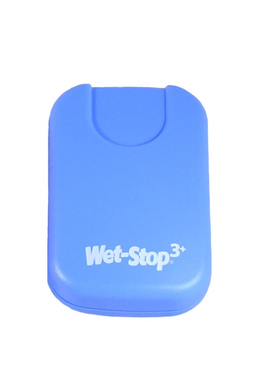 Wet-Stop 3+ wearable bedwetting alarm unit shown in blue