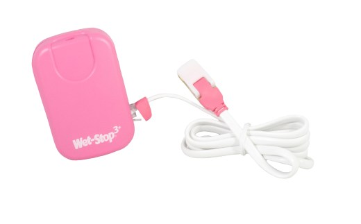 Wet-Stop 3+ wearable bedwetting alarm and sensor cord, shown in pink.