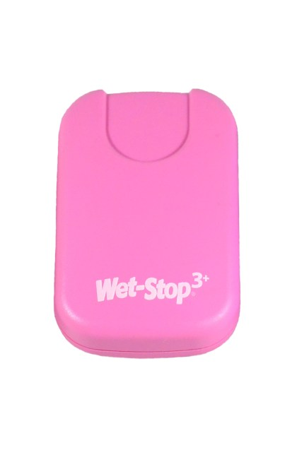 Wet-Stop 3+ wearable bedwetting alarm unit shown in pink