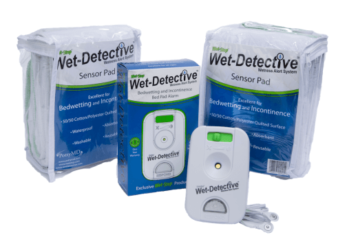 Wet-Detective bedwetting and incontinence bed pad alarm system - deluxe kit with two sensor pads