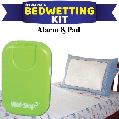 Green bedwetting alarm system kitted together with a waterproof mattress pad, for drier nights.