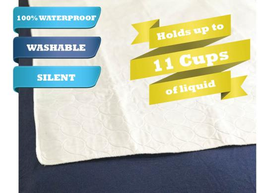Waterproof mattress pad, white, quilted, holds up to 11 cups of liquid. For dry nights and bedding.