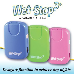 Blue, green, and pink Wet-Stop 3+ alarm units