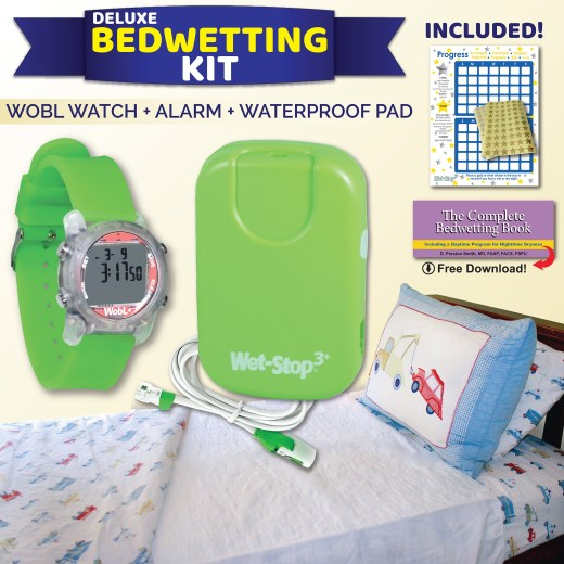 Wet-Stop Deluxe Bedwetting kit with WobL+ green alarm watch, Wet-Stop 3+ green bedwetting alarm, and Wet-Stop bed pad with wings. Free reward chart, stickers, and book download.