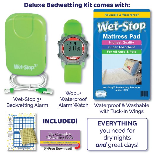 Wet-Stop Deluxe Bedwetting Kit includes Wet-Stop 3+ bedwetting alarm, WobL+ alarm watch, and Wet-Stop waterproof, washable mattress pad.