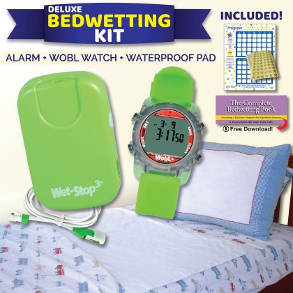 Wet-Stop Deluxe Bedwetting Kit with bedwetting alarm, waterproof alarm reminder watch, waterproof washable bed pad