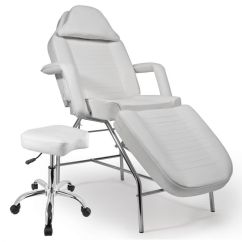 White Multi Purpose Salon Chair Ladderback Dining Chairs Tattoo Or Piercing Bed Combo With Stool