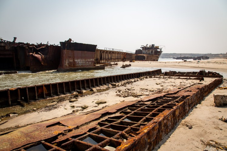 Ship remains that have been salvaged for scrap.