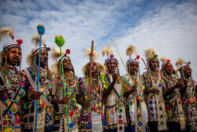 Performers at The Gerewol Festival, Chad