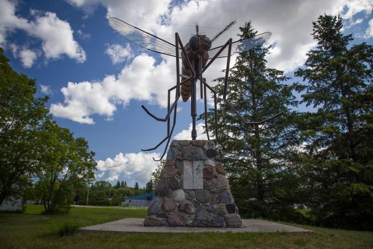 Giant mosquito statue in Komarno, Manitoba.