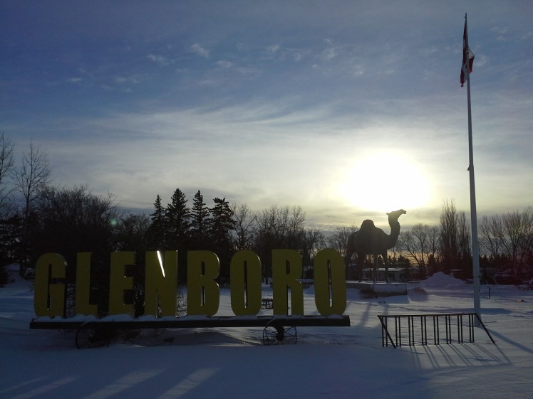 Sara the Camel watches over Glenboro and the frozen north near to Manitoba's only desert of Spirit Sands.