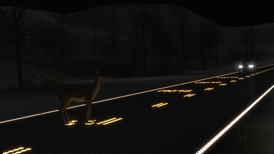 Roadway_snowy_night_deer