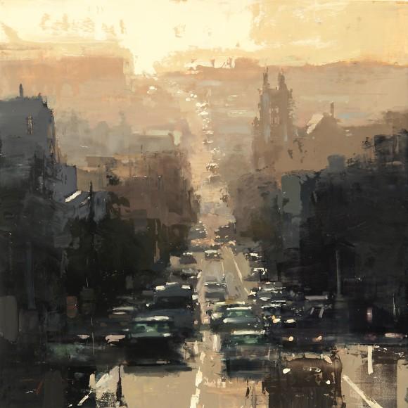 Sunset-on-Bush-Street-oil-on-panel-305x305-580x580