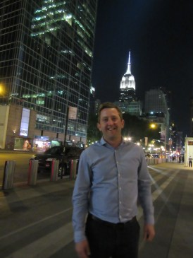 Neil looking happy as he has just seen the Empire State builidng