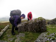Michelle n Celine try to re-stand the Trig Stone.