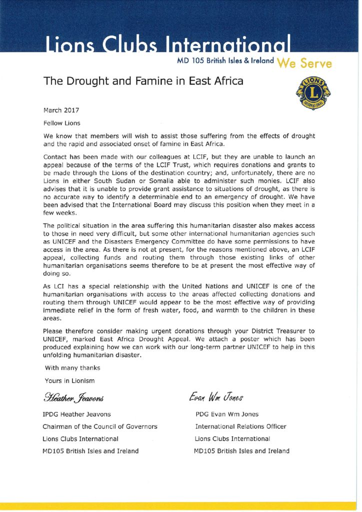 thumbnail of Appeal letter The drought and famine in East Africa