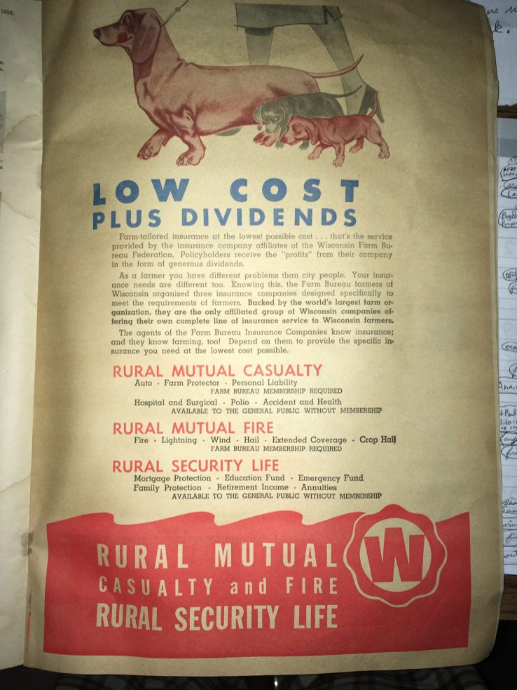 A Rural Mutual Insurance Company advertisement that was printed in the Wisconsin Agriculturist in 1956.
