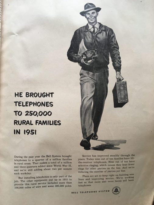 A phone service advertisement that was printed in January 1956 to promote the need for rural communities to be connected via landline.