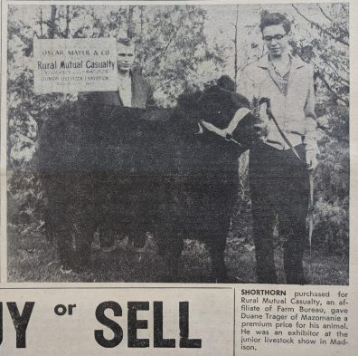 Rural Mutual Casualty (now Rural Mutual Insurance Company) purchased the 1967 champion shorthorn from Duane Trager of Mazomanie.