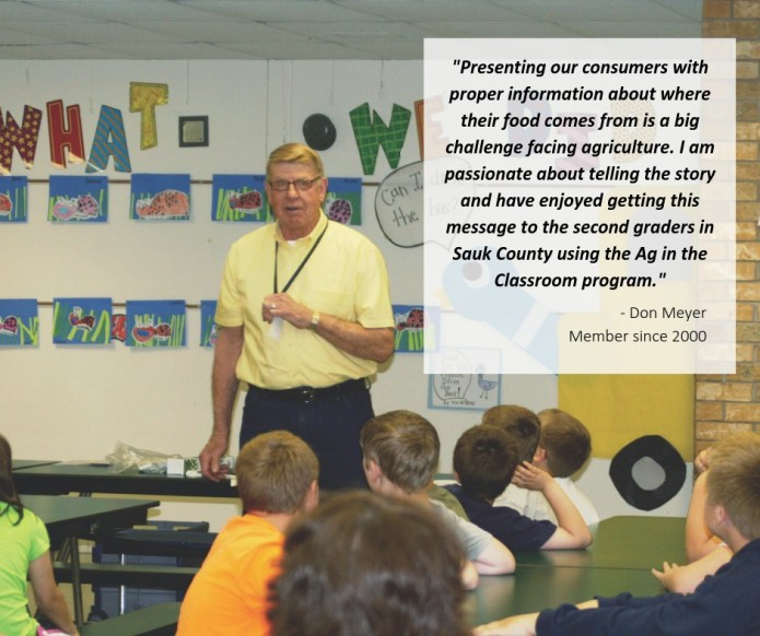 Sauk County Farm Bureau member Don Meyer is passionate about sharing agriculture's story through the Ag in the Classroom program.