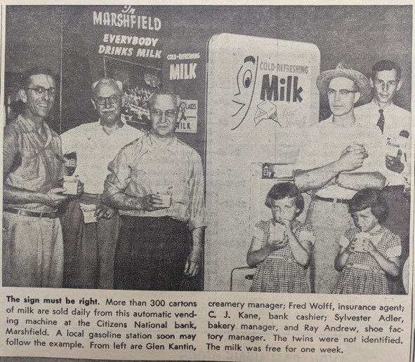 A 1954 photo from the Farm Bureau Badger news shows a milk vending machine at a Marshfield business. Maybe its time to bring this idea back - who doesn't love a cold, refreshing carton of milk?