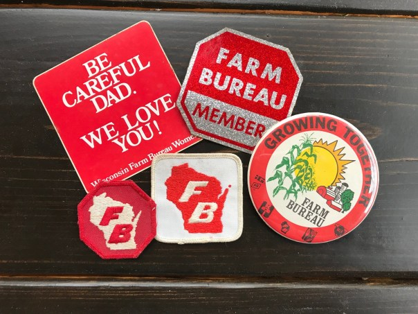 Vintage Farm Bureau stickers, patches and buttons from the late Doris Peterson's personal collection. Doris and her husband George were longtime St. Croix County Farm Bureau members.