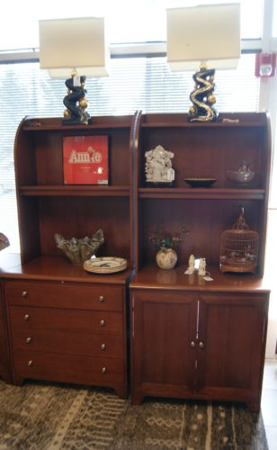 Beau USA MADE BY ETHAN ALLEN FURNITURE CO. Solid Cherry Lower Shelving Upper  Open Shelving. Pull Out Key Board At Desk.