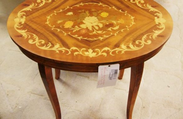 Oval Inlay Music Box Side Table