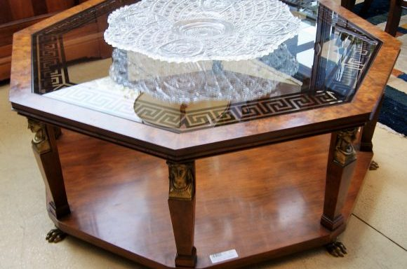 Vintage Egyptian Revival Octagon Coffee Table