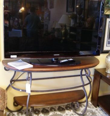 Iron and Wood Console Table And TV Priced Separate