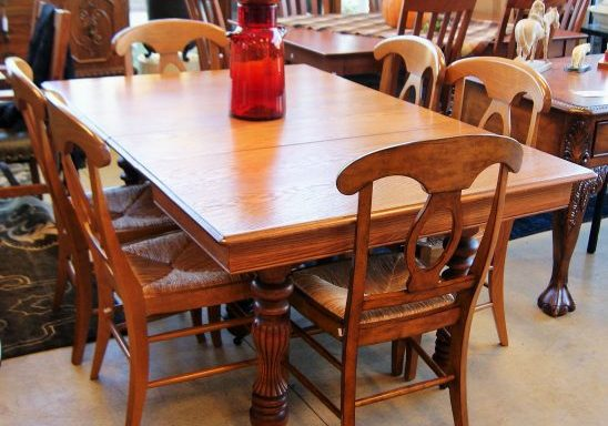 Antique Oak Table With Pottery Barn Chairs