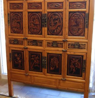 Antique Qiung Dynasty 1860 Chinese Fine Relis 4 Door Panel Cabinet