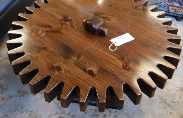Vintage Spinning Gear Cog Tavern Coffee Table