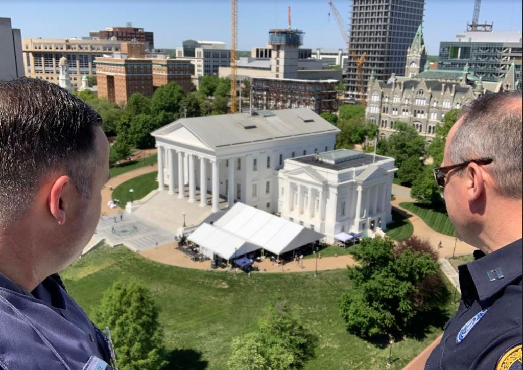 Photo of the House's tent set up outside the Capitol. Photo courtesy of Virginia Capitol Police.