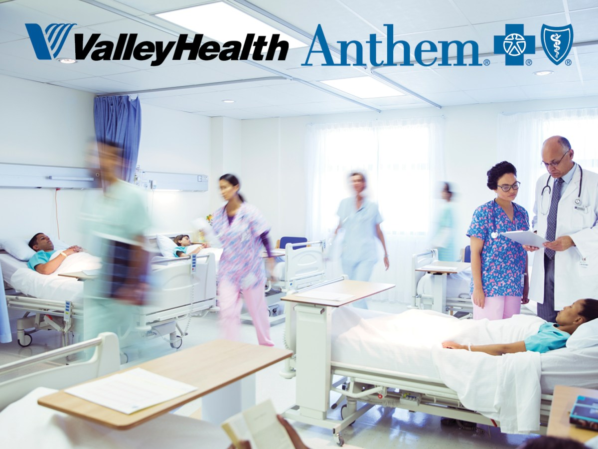 Valley Health and Anthem logos on hospital scene