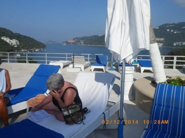"""DORIS SHEEN, a WAKE FOREST RESIDENT has chosen to wait out the WINTER STORM of FEB 12, 2014 in SUNNY ACAPULCO MEXICO. She has a great start. Picture taken about 11 am EDST Feb 12."" Bitch."