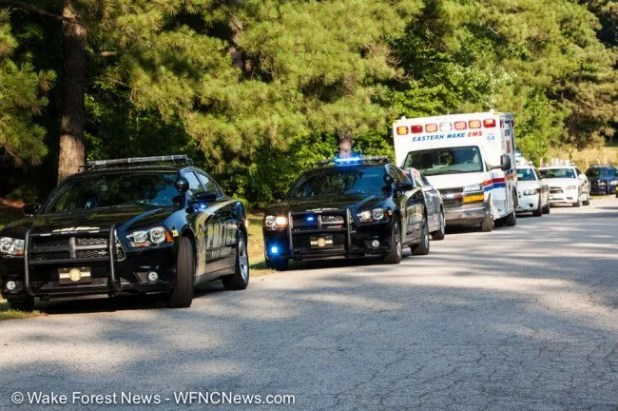 Wake Forest Police were the first law enforcement on the scene with units from nearby EMS and Wake Sheriff's Office deputies quickly arriving.