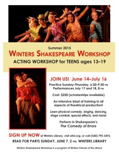 Winters Shakespeare Workshop 2015 recruitment poster