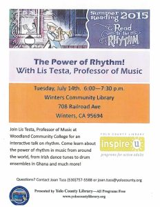Program at the WInters Community Library Tuesday, July 14