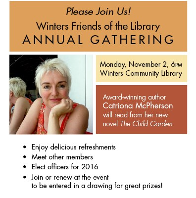 Winters Friends of the Library Annual Gathering Invitation, Guest Speaker Catriona McPherson
