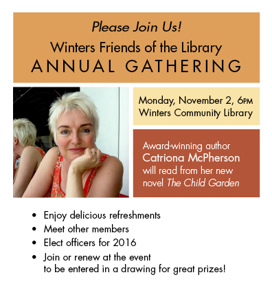 Winters Friends of the Library Annual Gathering November 2, 2015, Guest Speaker Catriona McPherson