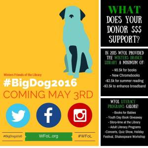 Save the Date to Help Winters Friends of the Library Rock #BigDOG2016