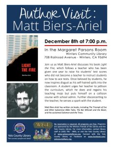 Author Matt Biers-Ariel Visit Winters Community Library Dec. 8