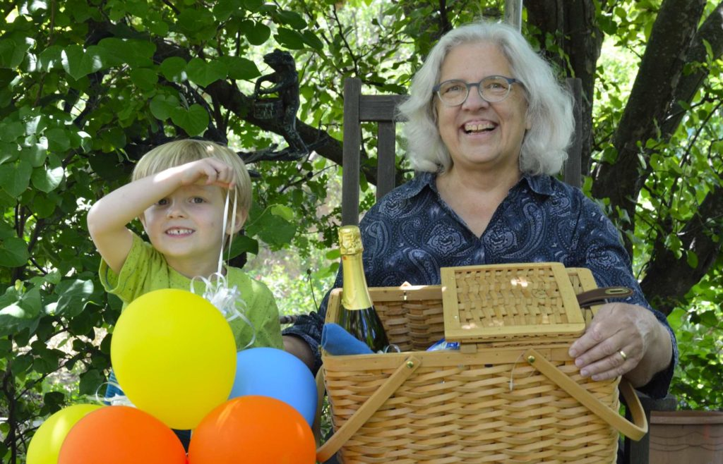 Diane Cary and grandson Jack Mahoney are excited winners of the Shakespeare Picnic Basket, the prize for the Winters Friends of the Library 2017 Big Day of Giving donor thank you raffle.