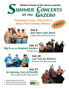 Winters Friends of the Library 2017 Summer Concerts Poster
