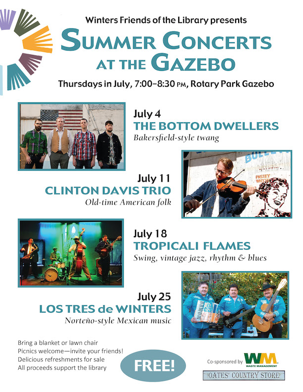 Winters Friends of the Library Summer Concerts at the Gazebo 2019