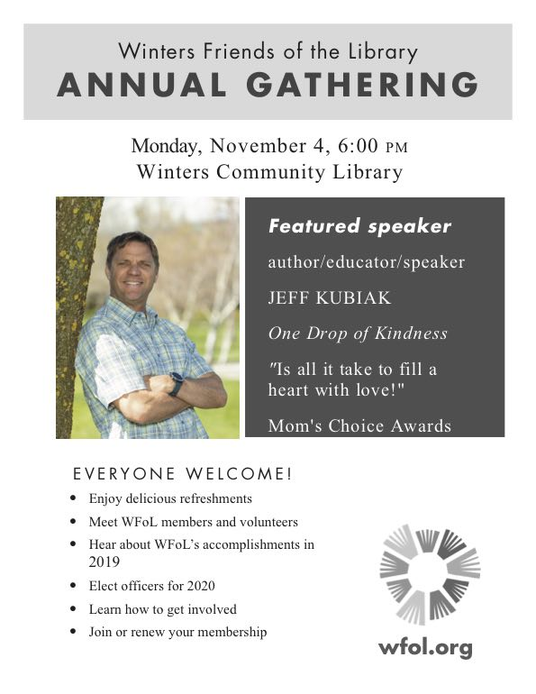 Winters Friends of the Library (WFoL) Annual Gathering Flyer
