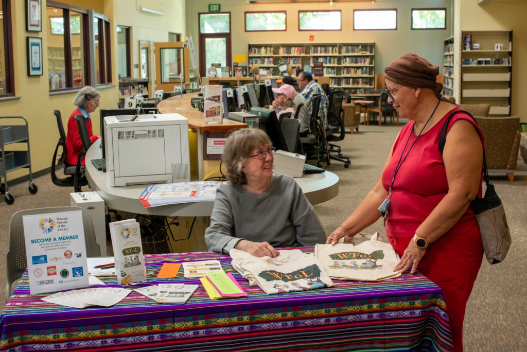 WFoL Membership Table at the Winters Community Library, photo credit Rose Hemenway